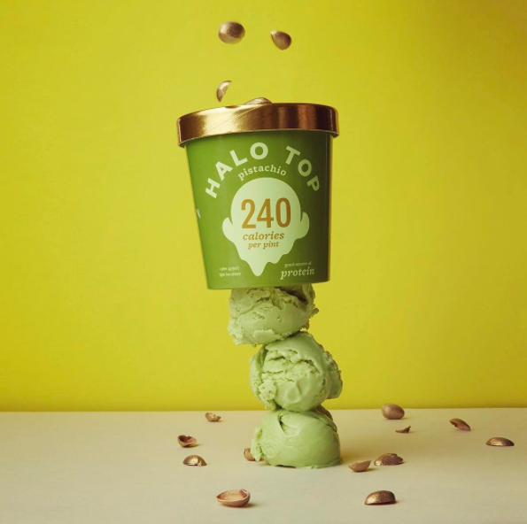 A pint of Halo Top pistachio