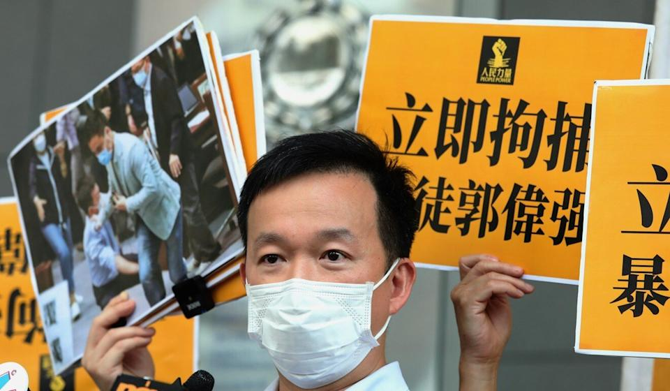 Lawmaker Raymond Chan in a protest in May. Photo: Nora Tam