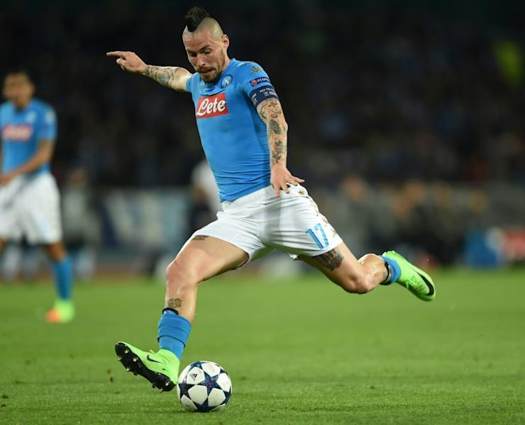 Napoli's midfielder from Slovakia Marek Hamsik kicks the ball during the UEFA Champions League football match SSC Napoli vs Real Madrid on March 7, 2017 at the San Paolo stadium in Naples