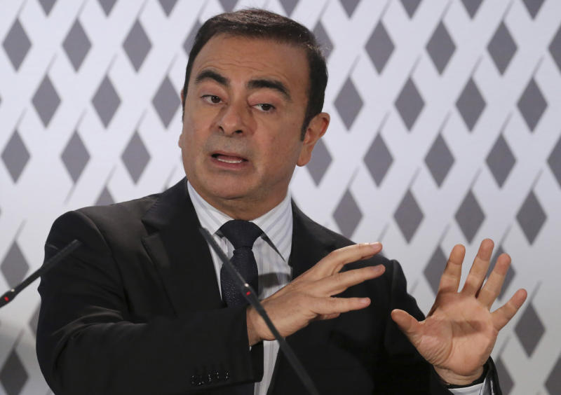 FILE - In this Feb. 14, 2013 photo, CEO of Renault and Nissan, Carlos Ghosn, gestures as he presents the results of 2012 to the media in Paris. Nissan Chief Executive Ghosn promised strong sales growth to shareholders Tuesday, June 25, 2013, in a turnaround from natural disasters and a boycott in China set off by a territorial dispute. (AP Photo/Michel Euler, File)