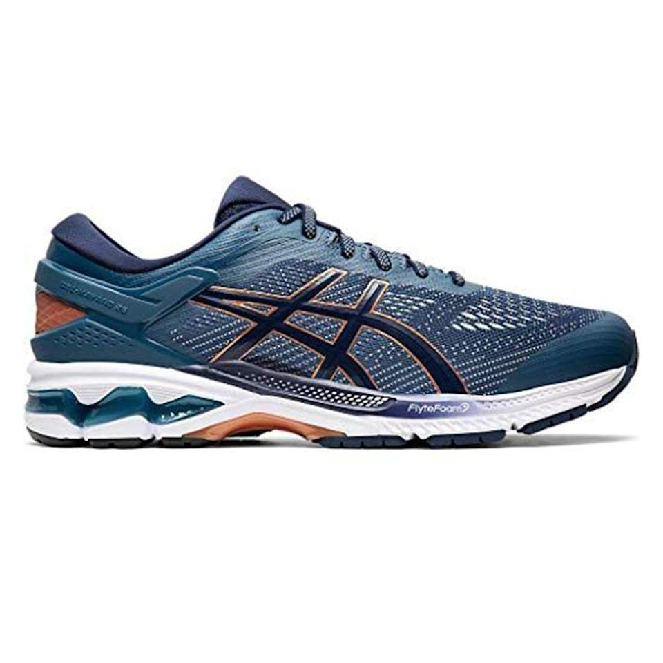 """<p><strong>ASICS</strong></p><p>amazon.com</p><p><strong>$144.95</strong></p><p><a href=""""https://www.amazon.com/dp/B08285F7XT?tag=syn-yahoo-20&ascsubtag=%5Bartid%7C2139.g.33501651%5Bsrc%7Cyahoo-us"""" rel=""""nofollow noopener"""" target=""""_blank"""" data-ylk=""""slk:BUY IT HERE"""" class=""""link rapid-noclick-resp"""">BUY IT HERE</a></p><p>With their soft foam compound, ASICS's Gel-Kayano 26 running shoes offer a plush touchdown feel. These will keep your foot locked in and supported on long distance runs. </p>"""
