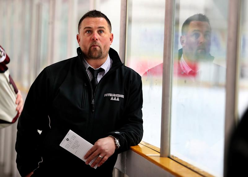 PETERBOROUGH, ON - OCTOBER 23: Former Boston Bruins player Marc Savard stands in the Evinrude Centre in Peterborough, Ontario on Oct. 23, 2016. The two-time All-Star had his professional playing career cut short by concussions and now coaches the Peterborough Evinrude Blades minor bantam AAA Petes. (Photo by Stan Grossfeld/The Boston Globe via Getty Images)