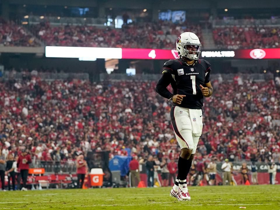 Kyler Murray takes the field against the San Francisco 49ers.