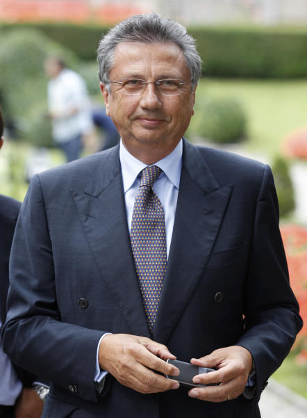 "This Friday, Sept. 3, 2010 photo shows then Agusta Westland Group CEO Giuseppe Orsi attending the ""Intelligence on the World, Europe, and Italy"" economic forum, at Villa d'Este, in Cernobbio, on the Como Lake, Italy. On Tuesday, Feb. 12, 2013 Italian police arrested the chief executive of Italy's largest defense and aerospace group as part of an investigation into alleged international corruption. Prosecutors in the Busto Arsizio north of Milan ordered the arrest Tuesday of Finmeccanica CEO Giusppe Orsi. Police were carrying out a search of his residence. (AP Photo/Luca Bruno, files)"