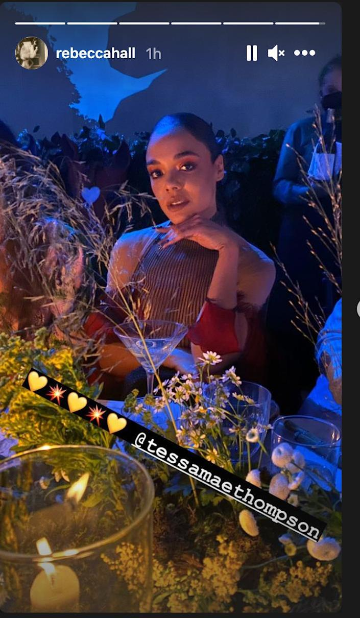 <p>Rebecca Hall snapped a pretty pic of her tablemate, Tessa Thompson, giving a glimpse at the centerpieces in the process. </p>