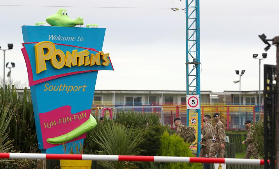 Soldiers at Pontin's in Southport where they will be staying ahead of the start of mass Covid-19 testing in Liverpool.