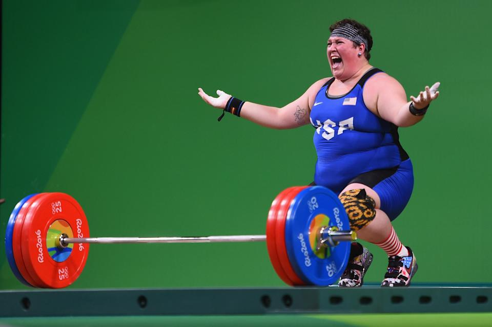 Sarah Elizabeth Robles of the United States reacts during the Weightlifting - Women's +75kg Group A on Day 9 of the Rio 2016 Olympic Games at Riocentro - Pavilion 2 on August 14, 2016 in Rio de Janeiro, Brazil. (Photo by Laurence Griffiths/Getty Images)