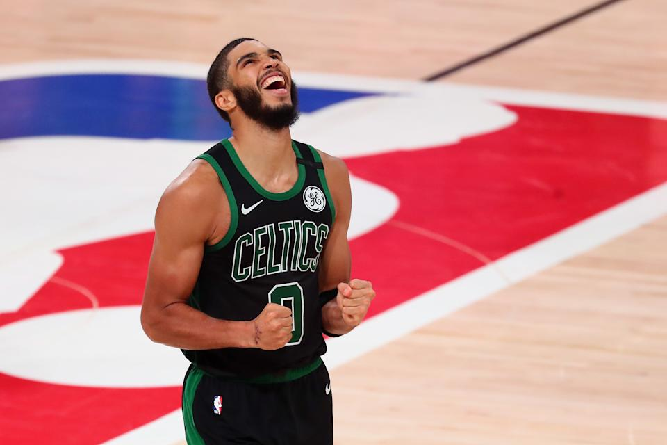 Sep 11, 2020; Lake Buena Vista, Florida, USA; Boston Celtics forward Jayson Tatum (0) celebrates after defeating the Toronto Raptors in game seven of the second round of the 2020 NBA Playoffs at ESPN Wide World of Sports Complex. Mandatory Credit: Kim Klement-USA TODAY Sports