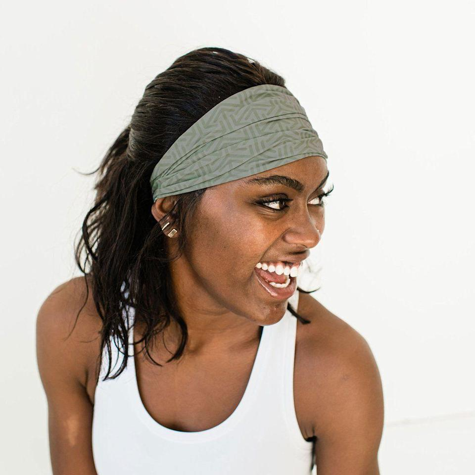 """<p><strong>Aruna</strong></p><p>Aruna</p><p><strong>$17.50</strong></p><p><a href=""""https://arunaproject.com/collections/all/products/rita-headbands"""" rel=""""nofollow noopener"""" target=""""_blank"""" data-ylk=""""slk:Shop Now"""" class=""""link rapid-noclick-resp"""">Shop Now</a></p><p>Go for this wide headband if you want something with more hold. The extra fabric will not only stop sweat and keep your hair in place, but it'll also make sure your ears stay warm during cold climates.</p>"""