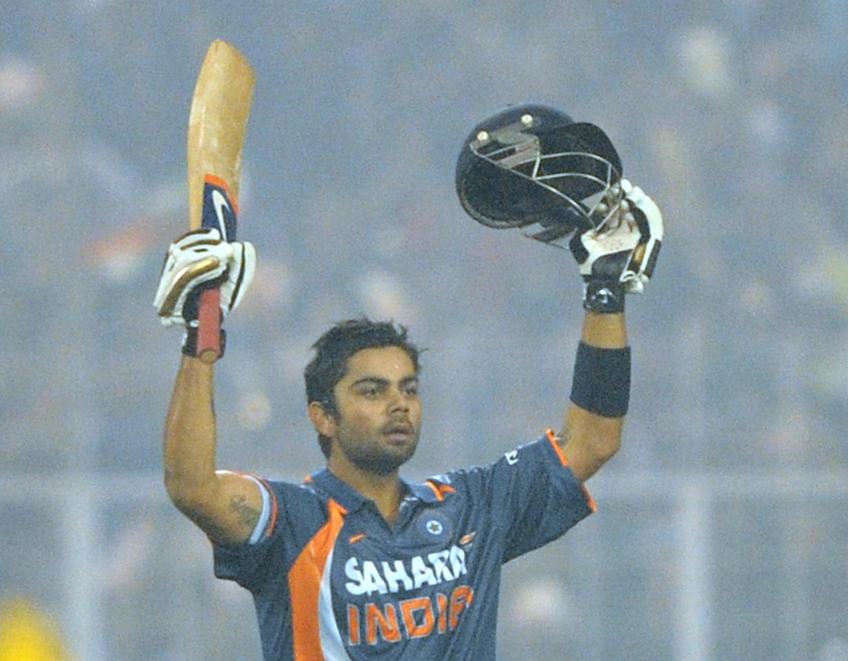 107 vs Sri Lanka, December 24, 2009, Kolkata : India were in trouble at 23-2, Sehwag and Sachin gone as they chased 316. A massive 224-run partnership followed with Gautam Gambhir, who ended with 150 to win the game. But the revelation was Kohli's calmness, as he made his first hundred in international cricket. [ Match scorecard ]