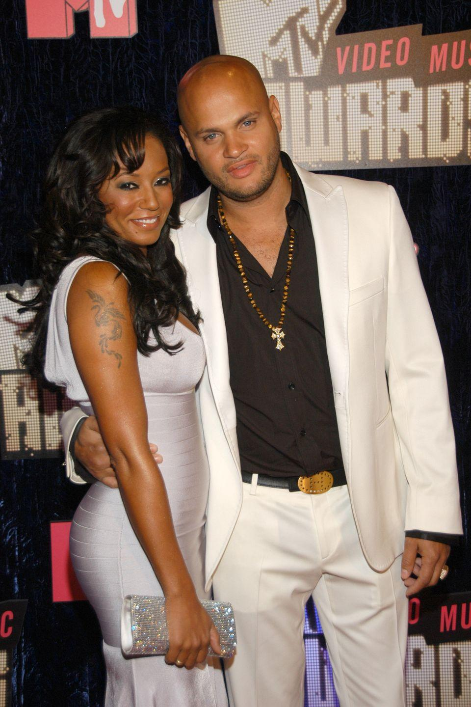 """<p>Mel B and her longtime friend, movie producer Stephen Belafonte, eloped in Las Vegas in 2007. The couple <a href=""""https://www.dailymail.co.uk/tvshowbiz/article-474183/Mel-Bs-secret-Las-Vegas-wedding.html"""" rel=""""nofollow noopener"""" target=""""_blank"""" data-ylk=""""slk:filed for their marriage license"""" class=""""link rapid-noclick-resp"""">filed for their marriage license</a> in Las Vegas county, but the whereabouts of their ceremony weren't disclosed. </p>"""