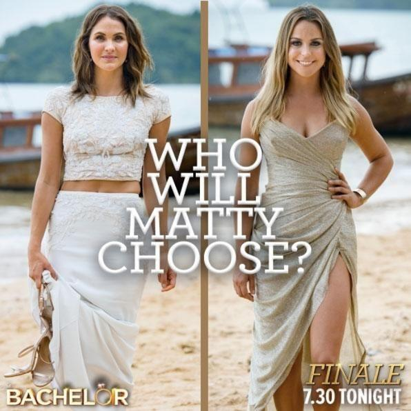 Who will Matty J choose as the winner of The Bachelorette? Laura (L) stuns in white tonight, while Elise (L) dazzles in gold, and if previous years' fashion trends are examined, the one in a lighter colour always wins. Source: Channel Ten