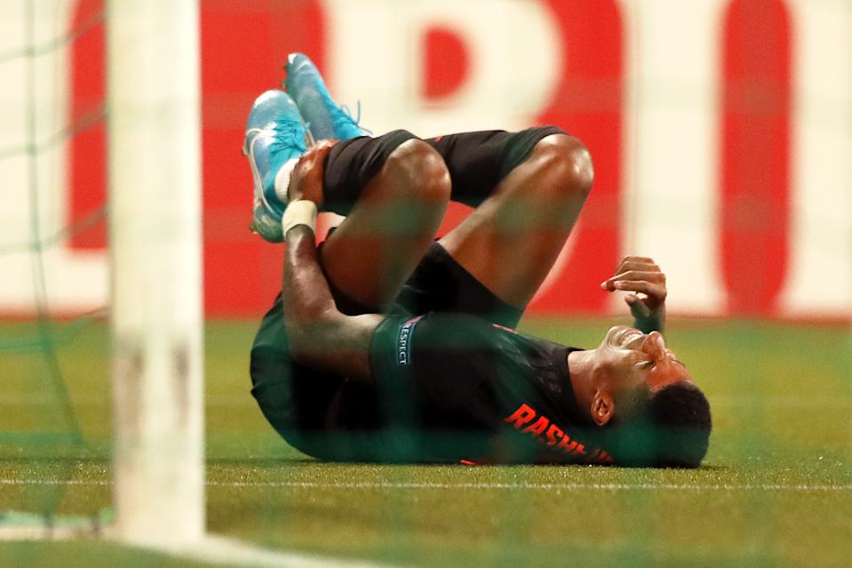 THE HAGUE, NETHERLANDS - OCTOBER 03: Marcus Rashford of Manchester United reacts during the UEFA Europa League group L match between AZ Alkmaar and Manchester United at ADO Den Haag on October 03, 2019 in The Hague, Netherlands. (Photo by Naomi Baker/Getty Images)