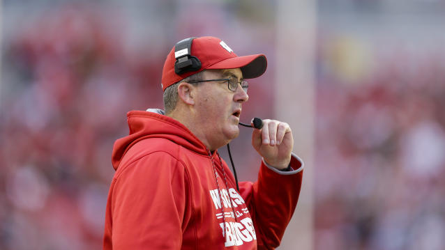 Wisconsin head coach Paul Chryst during the second half of an NCAA college football game against Michigan State Saturday, Oct. 12, 2019, in Madison, Wis. Wisconsin won 38-0. (AP Photo/Andy Manis)