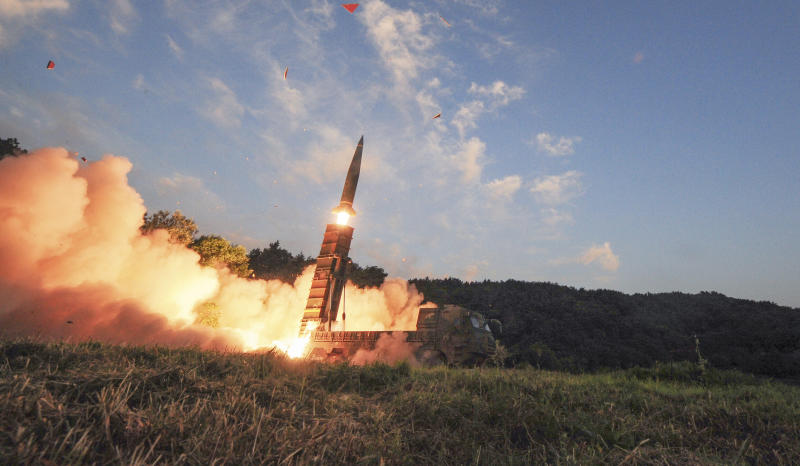 South Korea's Hyunmoo II ballistic missile is fired during an exercise at an undisclosed location in South Korea (South Korea Defense Ministry via AP)