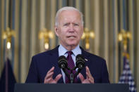 President Joe Biden delivers remarks on the debt ceiling during an event in the State Dining Room of the White House, Monday, Oct. 4, 2021, in Washington. (AP Photo/Evan Vucci)