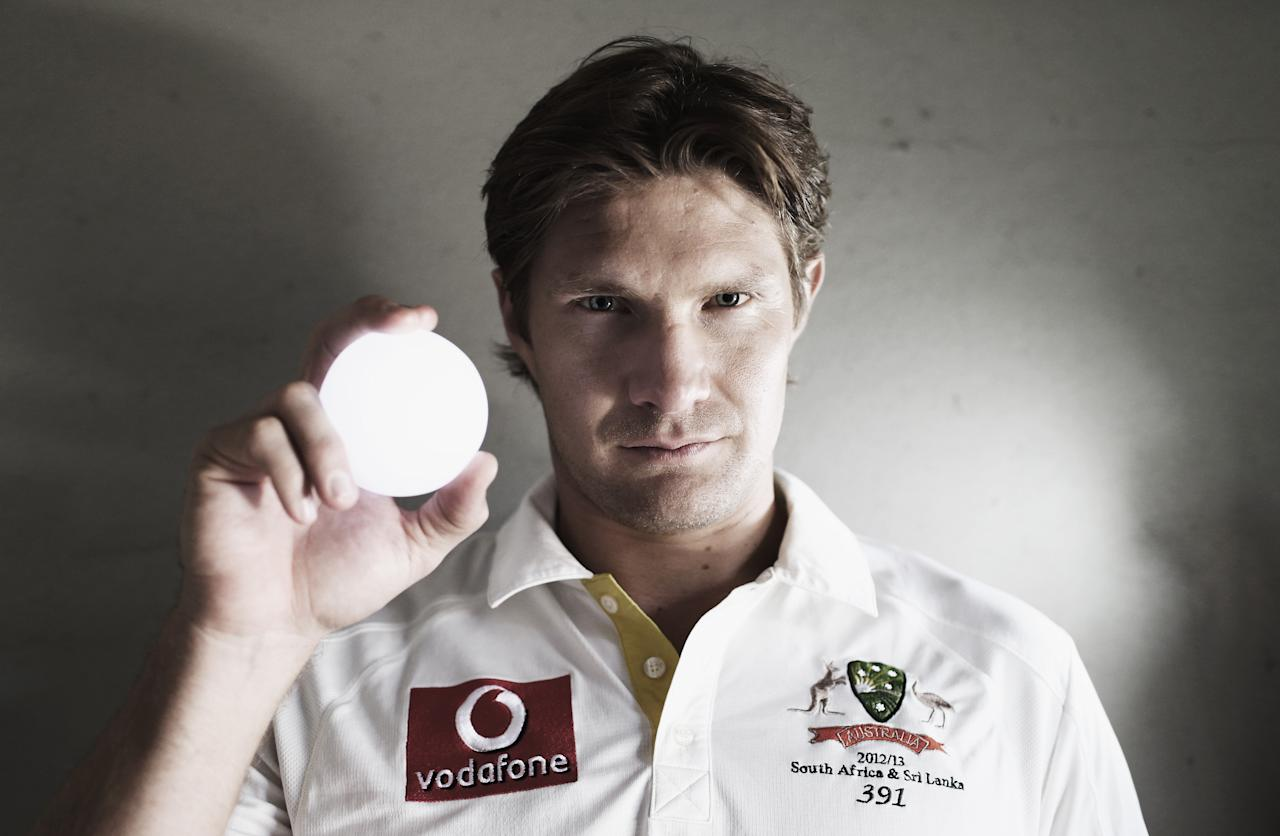 SYDNEY, AUSTRALIA - DECEMBER 20:  (EDITORS NOTE: This image has been desaturated) Australian cricketer Shane Watson poses during a portrait session at the Sydney Cricket Ground on December 20, 2012 in Sydney, Australia.  (Photo by Ryan Pierse/Getty Images)