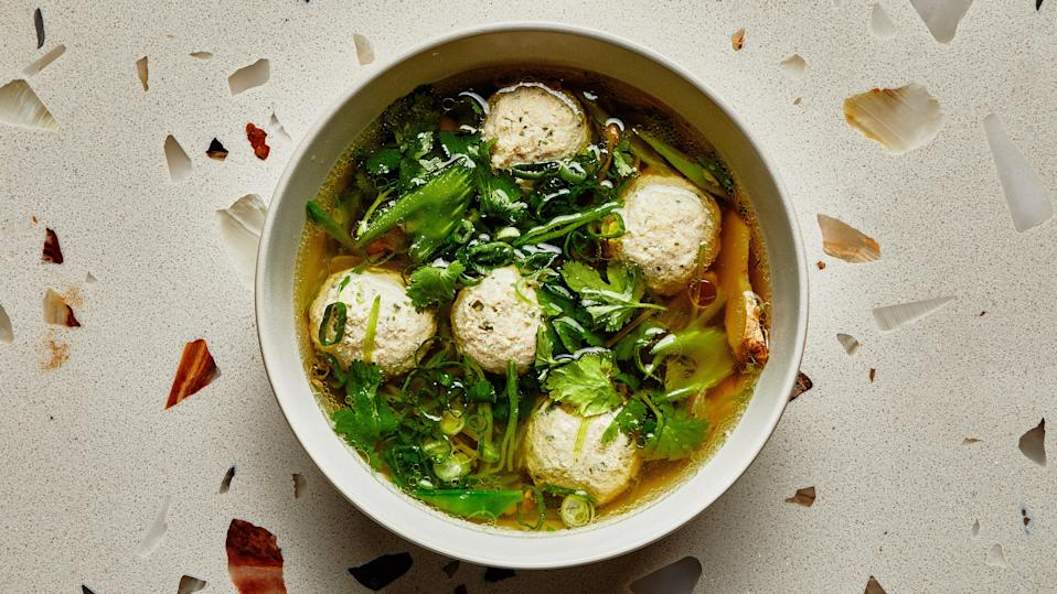 "For this soup recipe, we skipped browning the meatballs and poached them instead. This will keep them very tender and their flavor light, which is ideal for this seasonal dish. <a href=""https://www.bonappetit.com/recipe/chicken-meatballs-in-spring-vegetable-broth?mbid=synd_yahoo_rss"" rel=""nofollow noopener"" target=""_blank"" data-ylk=""slk:See recipe."" class=""link rapid-noclick-resp"">See recipe.</a>"