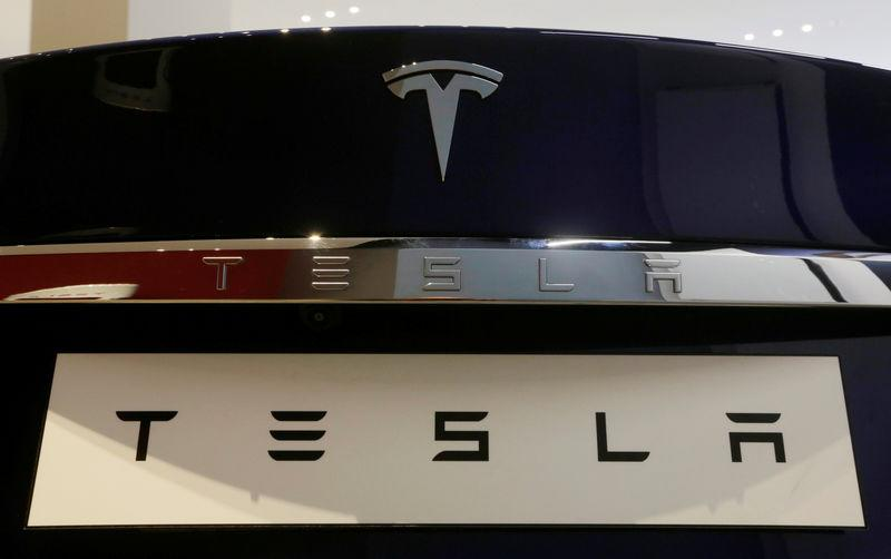 A Tesla Model S vehicle is displayed at the Tesla store in Sydney, Australia