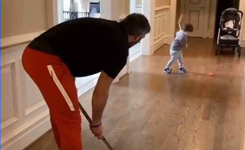 If genetics are any indication, Sergei Ovechkin will be terrorizing minor hockey goalies in no time. (Instagram/RMNB)
