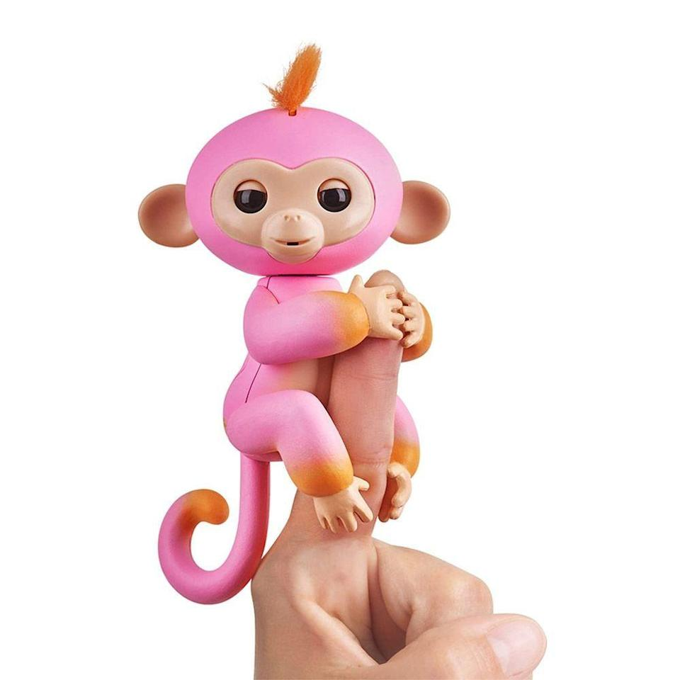 "<p><strong>WowWee</strong></p><p>amazon.com</p><p><strong>$10.50</strong></p><p><a href=""https://www.amazon.com/Fingerlings-2Tone-Monkey-Accents-Interactive/dp/B075NV4PW5/?tag=syn-yahoo-20&ascsubtag=%5Bartid%7C2089.g.268%5Bsrc%7Cyahoo-us"" rel=""nofollow noopener"" target=""_blank"" data-ylk=""slk:Shop Now"" class=""link rapid-noclick-resp"">Shop Now</a></p><p>Summer, this sweet baby monkey, is a fun finger friend who will light up your little one's eyes when they pull her out of their stocking this season. This little sweetie responds to sounds, strokes, and can even be petted to sleep.</p><p>The Fingerling family is expansive, and if your tot loves their new pet (which they totally will) then you can continue to grow their collection to include all of the <a href=""https://www.amazon.com/WowWee-gimnasio-jungla-Fingerlings-interactivo/dp/B06WP9SFKS?tag=syn-yahoo-20&ascsubtag=%5Bartid%7C2089.g.268%5Bsrc%7Cyahoo-us"" rel=""nofollow noopener"" target=""_blank"" data-ylk=""slk:cute little Fingerling accessories"" class=""link rapid-noclick-resp"">cute little Fingerling accessories</a>.</p>"