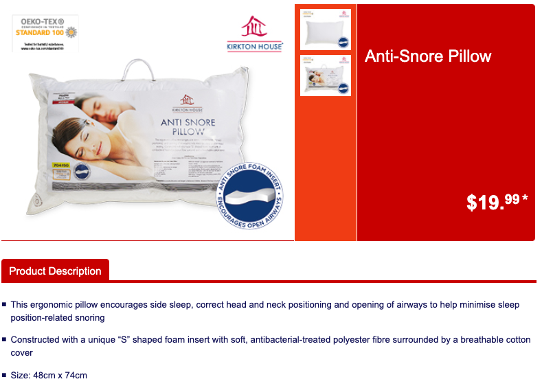 Aldi's hit $20 'anti-snore' pillow will be back in stock on Wednesday, January 27. Photo: Aldi.