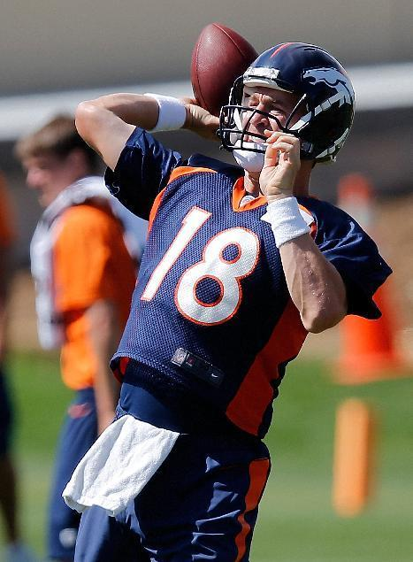 Denver Broncos quarterback Peyton Manning throws during a joint practice between the Broncos and the Houston Texans on Thursday, Aug. 21, 2014, in Englewood, Colo. (AP Photo/Jack Dempsey)