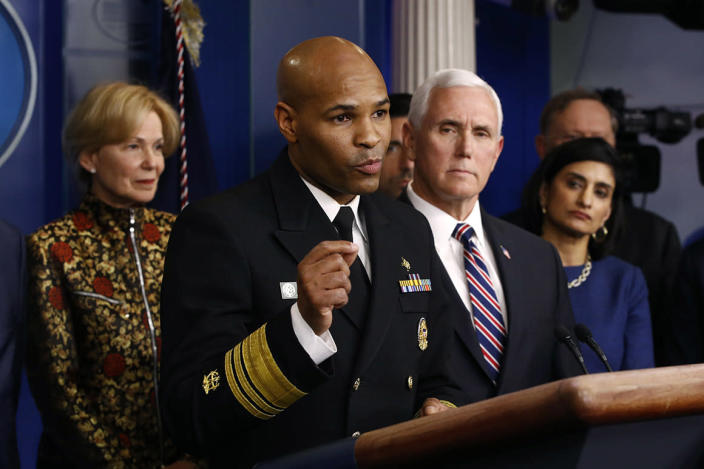 U.S. Surgeon General Jerome Adams speaks in the briefing room of the White House in Washington, Monday, March 9, 2020, about the coronavirus outbreak. (AP Photo/Patrick Semansky)
