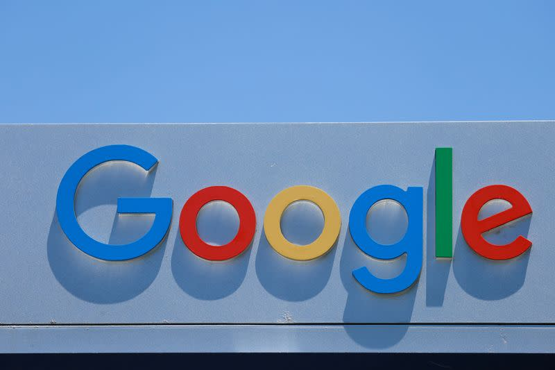 FILE PHOTO: A Google sign is shown at one of the company's office complexes in Irvine, California