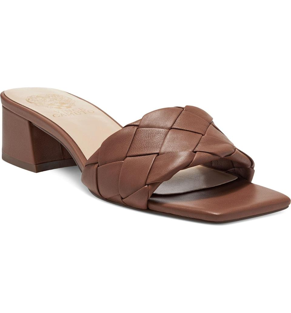 <p>This <span>Vince Camuto Semtera Block Heel Slide Sandal</span> ($100) will be a nice finishing touch to your slip dress ensemble.</p>