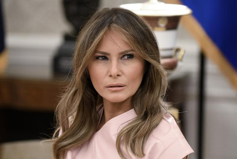 d734e0b9493 First lady Melania Trump (pictured in June) is speaking out about being  bullied. (Photo: Olivier Douliery/Pool/Getty Images)