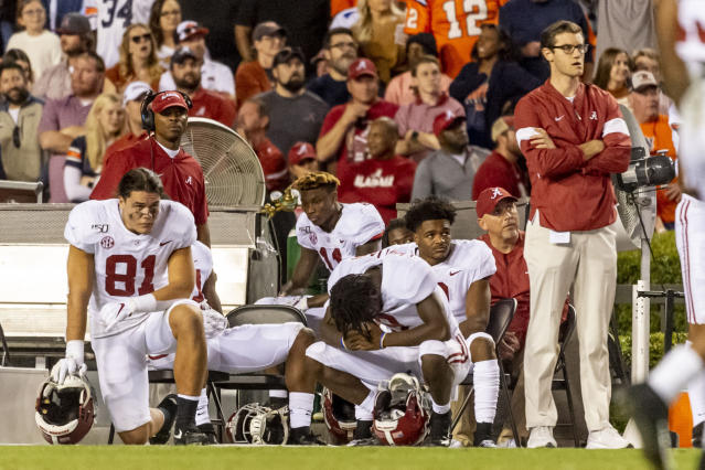 Alabama looks on after missing a field goal that would have tied an NCAA college football game against Auburn during the second half Saturday, Nov. 30, 2019, in Auburn, Ala. (AP Photo/Vasha Hunt)