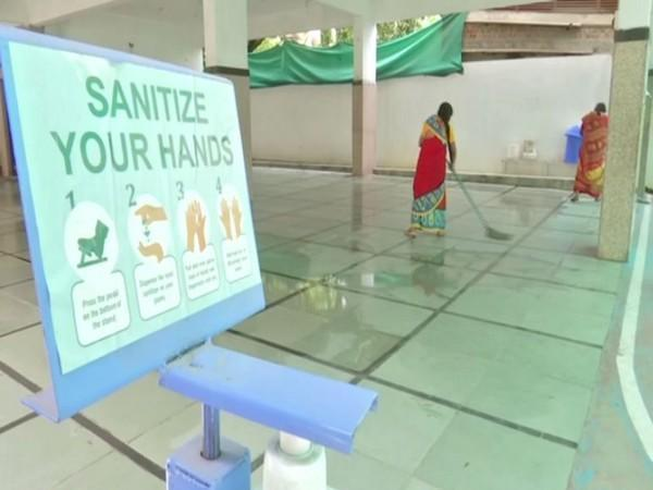 Sanitization of school building ahead of reopening on Sept 1 (Photo/ANI)
