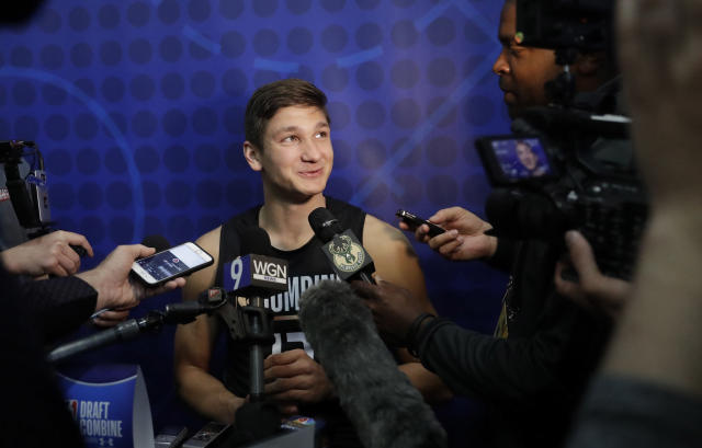 Grayson Allen speaks with reporters at the NBA draft combine in Chicago. (AP)