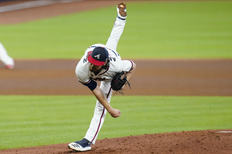 Atlanta Braves' Ian Anderson delivers a pitch during the fourth inning in Game 2 of a baseball National League Division Series against the Miami Marlins Wednesday, Oct. 7, 2020, in Houston. (AP Photo/Eric Gay)
