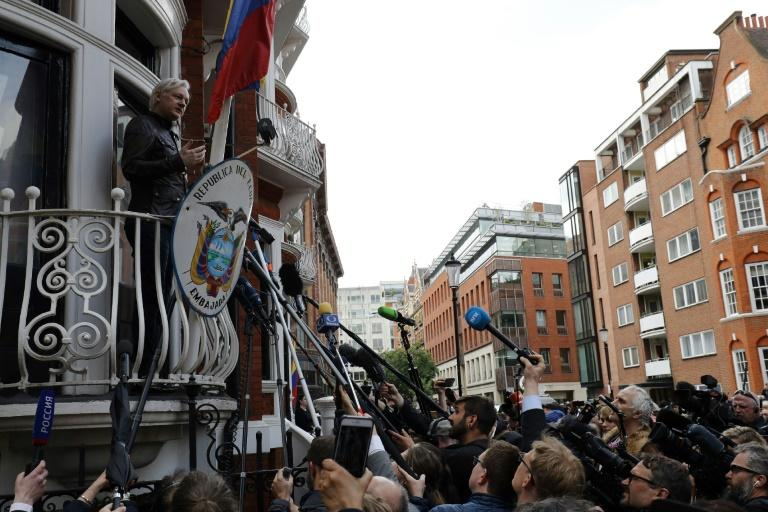 Wikileaks founder Julian Assange speaks on the balcony of the Embassy of Ecuador in London on May 19, 2017
