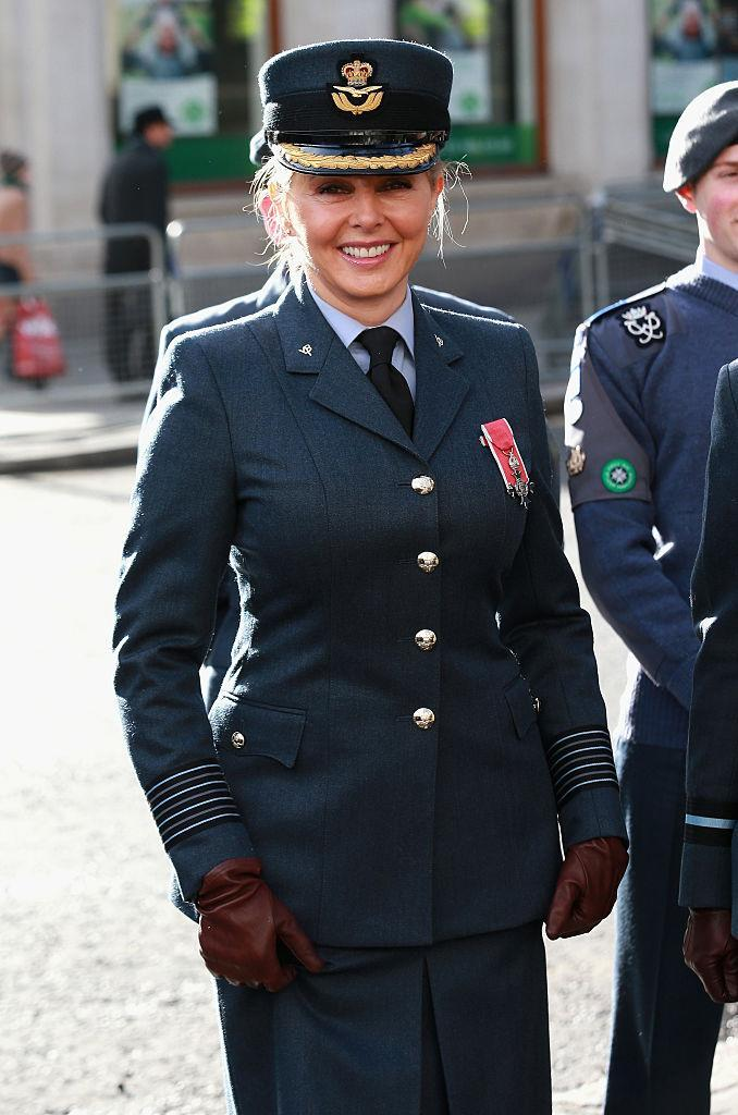 Carole Vorderman will no longer be able to wear her RAF skirt for marching [Photo: Getty]