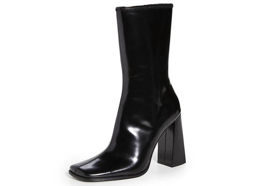 square toe boots, black, leather, by far