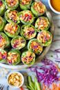 "<p>These colorful spring rolls are packed with fresh veggies and smothered in a deliciously creamy peanut sauce.</p><p><strong>Get the recipe at <a href=""https://damndelicious.net/2019/06/25/vegetable-spring-rolls-with-peanut-sauce/"" rel=""nofollow noopener"" target=""_blank"" data-ylk=""slk:Damn Delicious"" class=""link rapid-noclick-resp"">Damn Delicious</a>.</strong></p><p><strong><a class=""link rapid-noclick-resp"" href=""https://www.amazon.com/AmazonBasics-Stainless-Steel-Wire-Whisk/dp/B07TMHKV74/?tag=syn-yahoo-20&ascsubtag=%5Bartid%7C10063.g.35089489%5Bsrc%7Cyahoo-us"" rel=""nofollow noopener"" target=""_blank"" data-ylk=""slk:SHOP WHISKS"">SHOP WHISKS</a><br></strong></p>"