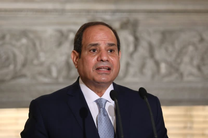 Egyptian President Abdel Fattah al-Sisi speaks during a joint news conference with Greek Prime Minister Kyriakos Mitsotakis at Maximos Mansion in Athens