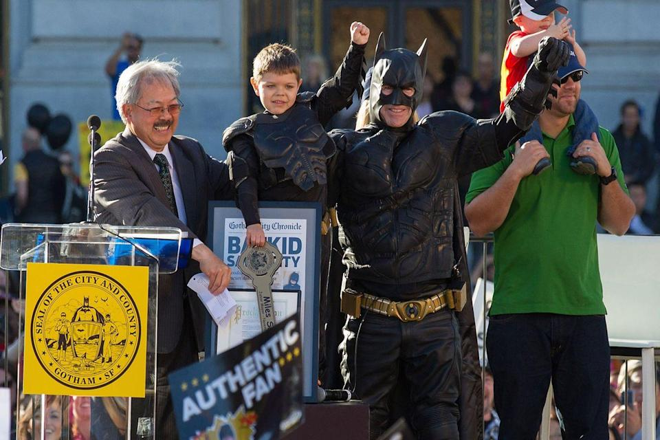 "<p>Little cancer survivor Miles Scott transforms into his dream superhero Batkid thanks to the Make-A-Wish foundation. San Francisco mayor Ed Lee awarded Batkid the key to the city of ""Gotham"" in the fall of 2013 and hearts melted worldwide. </p>"