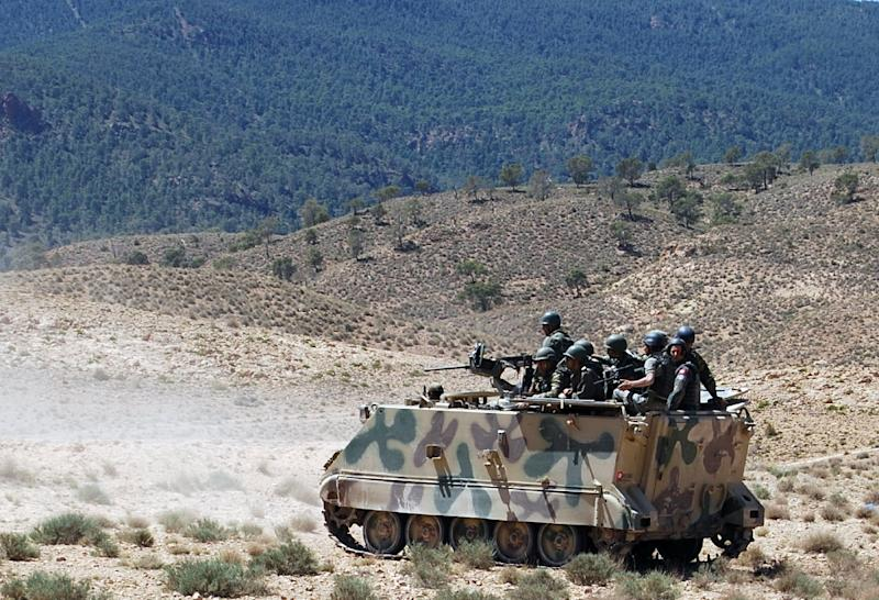 Soldiers patrol in the Mount Chaambi region of western Tunisia on June 11, 2013 where the army has been tracking militants