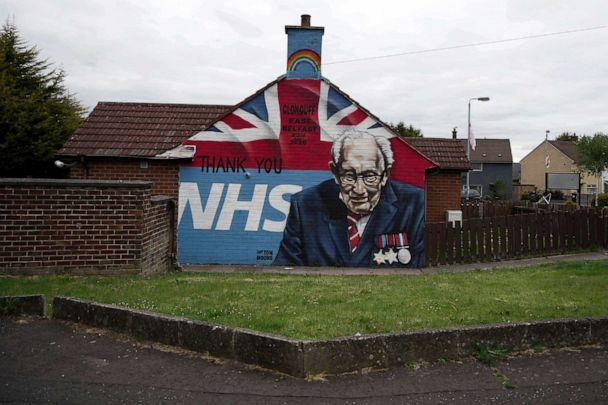PHOTO: A mural depicting 100 year old army veteran and NHS fund raiser Captain Tom Moore can be seen in a loyalist housing estate, May 18, 2020, in Belfast, Northern Ireland. (Charles Mcquillan/Getty Images, FILE)