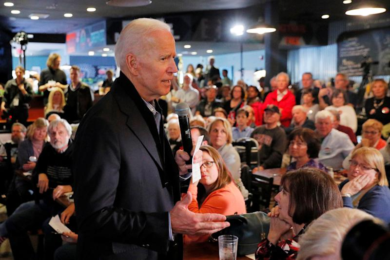 Former Vice President Joe Biden addresses prospective supporters in Hampton, New Hampshire, on Monday. (Brian Snyder/Reuters)