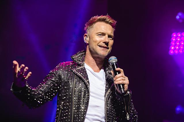 "Ronan Keating of Boyzone performs on stage at the London Palladium during their ""The Last Five tour"" on October 21, 2019 in London, England. (Photo by Joseph Okpako/WireImage)"
