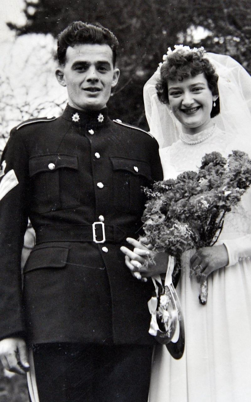 Warrent Officer James Bond of the RASC, later the Ordnance Corps, on his wedding day, with bride Janette. - Paul Levie