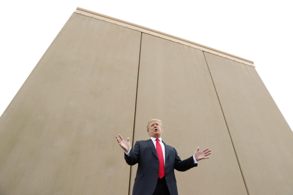 President Donald Trump speaks while participating in a tour of U.S.-Mexico border wall prototypes near the Otay Mesa Port of Entry in San Diego, California. U.S., March 13, 2018. (Photo: Kevin Lamarque/Reuters)