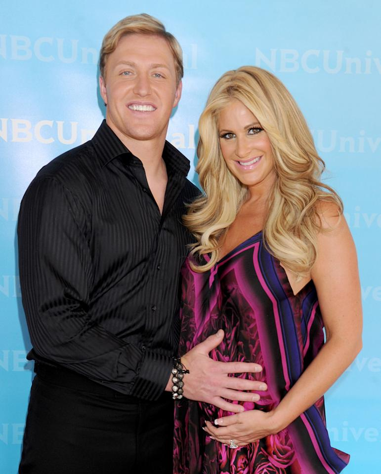 """Kim Zolciak and Kroy Biermann (""""<a href=""""http://tv.yahoo.com/don-39-t-be-tardy-for-the-wedding/show/48397"""">Don't Be Tardy for the Wedding</a>"""") arrive at NBC Universal's 2012 Summer Press Day at The Langham  Huntington Hotel and Spa on April 18, 2012 in Pasadena, California."""