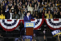 Democratic presidential candidate former South Bend, Ind., Mayor Pete Buttigieg speaks to supporters at a caucus night campaign rally, Monday, Feb. 3, 2020, in Des Moines, Iowa. (AP Photo/Charlie Neibergall)