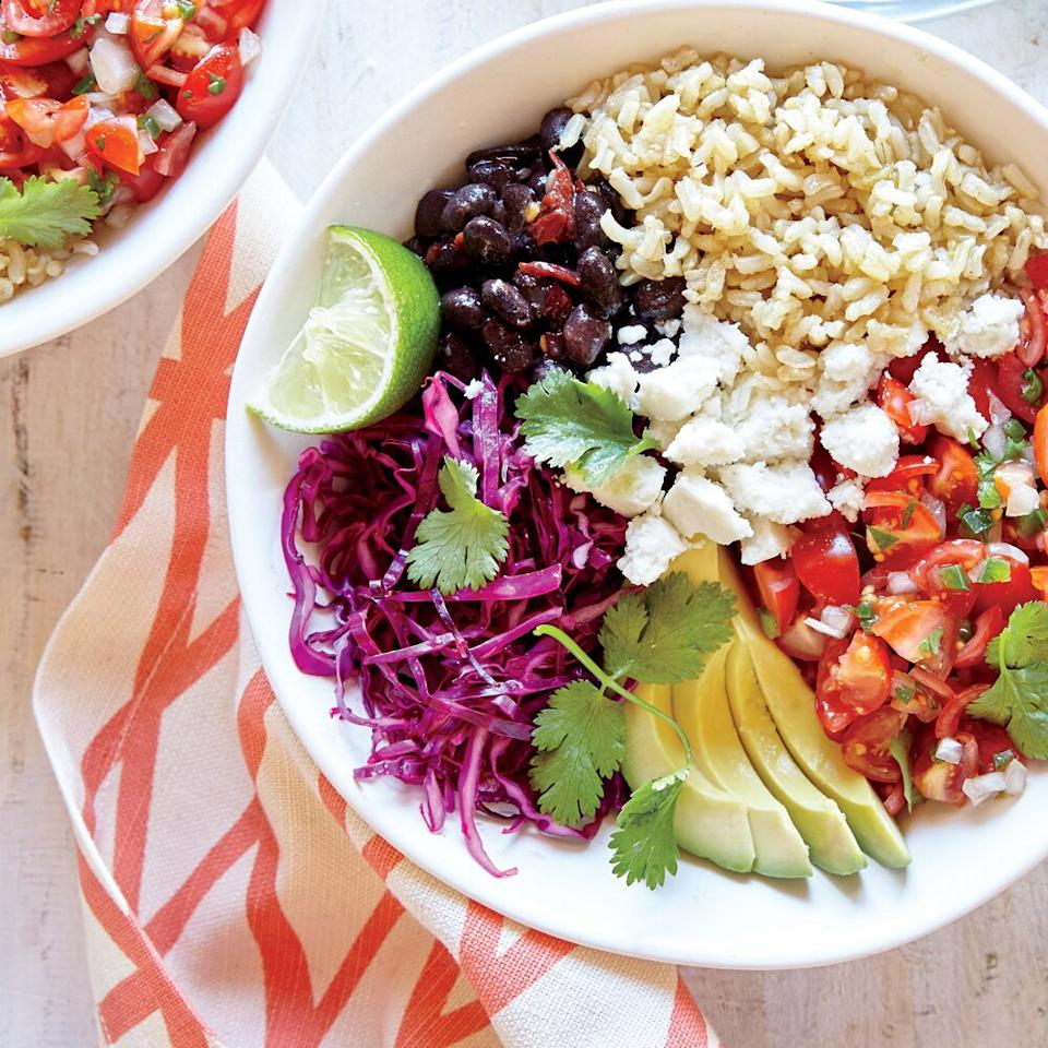 """<p>This is a Tex-Mex riff on the Korean rice dish bibimbap, in which various toppings are arranged over a bed of rice. Here, burrito bowl must-haves such as smoky black beans, fresh pico de gallo, and slaw top brown rice.</p> <p><a href=""""https://www.myrecipes.com/recipe/whole-grain-veggie-burrito-bowl"""">Whole-Grain Veggie Burrito Bowl Recipe</a></p>"""